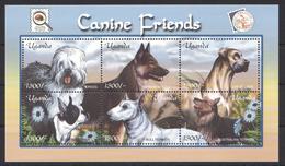 C269 UGANDA PETS DOGS CANINE FRIENDS 1KB MNH