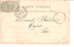 LYON... CACHET DAGUIN AVEC *LES TERRAUX *ET L AUTRE * TERRAUX - Rhone..* 2 CACHETS DIFFERENTS..... 1901 - Marcophilie (Lettres)