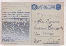 Cartolina In Franchigia  Aldo Spagnolo  Da Verona 12/2/1943 Ad Avio  E178 - Franchigia