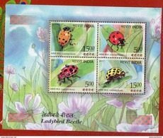 India Inde 2017 Ladybird Beetle Miniature Sheet Yellow Red Orange Pink Bettle Flower Insects MNH ST846