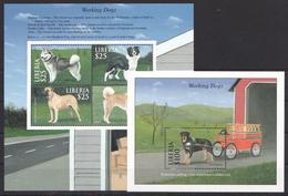 C291 LIBERIA FAUNA PETS WORKING DOGS 1KB+1BL MNH