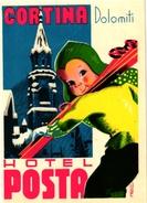 1Hotel Label Etiquette De Voyage Luggage Label   Skifahren Ski Cortina Dolomiti Hotel Posta - Hotel Labels