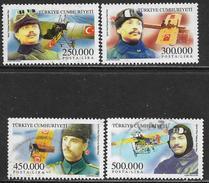 La Turquie Oblitérér, No: 3000 à 3003, Coté 4 Euros, Y & T, USED, PERSONNALITIES DE L'AVIATION - 1921-... République