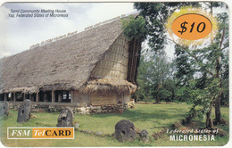MICRONESIA - Tomil Community Meeting House, FSM Tel Prepaid Card $10, Used - Paesaggi