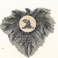 étiquette -  1900/1930 - Mini étiquette Mignonette - Flask - COGNAC LAFONT  Aigle -decoupe Feuille De Vigne - 5cm - Whisky