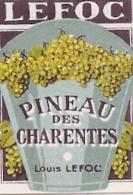étiquette -  1900/1930 - Mini étiquette Mignonette - Flask - COGNAC Pineau Des Charentes LEFOC-   - 5cm - Whisky