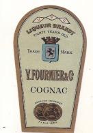 étiquette -  1900/1930 - Mini étiquette Mignonette - Flask - COGNAC Liqueur BRANDY Fournier -  Parafinée - 5cm - Whisky
