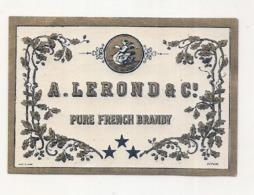 étiquette -  1900/1930 - Mini étiquette Mignonette - Flask - BRANDY  LEROND  -  Parafinée - 5cm - Whisky