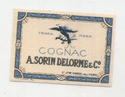 étiquette -  1900/1960 - Mini étiquette Mignonette - Flask - COGNAC SORIN DELORME   - 5cm - Whisky