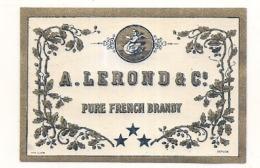 étiquette -  1900/1960 - Mini étiquette Mignonette - Flask - COGNAC - BRANDY - LEROND - Cygne - 5cm - Whisky