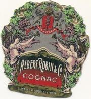 étiquette -  1900/1920 - Mini étiquette Mignonette - Flask - COGNAC - BRANDY -ROBIN  - 5cm - Whisky