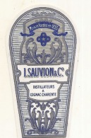 étiquette -  1900/1920 - Mini étiquette Mignonette - Flask - COGNAC - SAUVION   - 5cm - Whisky