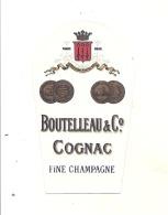 étiquette -  1900/1940 - Mini étiquette Mignonette - Flask -COGNAC BOUTEILLEAU  Fine Champagne  -  5cm - Whisky