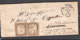 1861 - Piego Da Genova A Carrara Rispedito A Sarzana - Sardinia