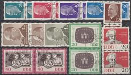 DDR 1961 Et 1962 Y&T 635/6 Michel 923/4 Paires Oblitérées. Journée Du Timbre + 637, 564A, 564B, 564C 564D 564E 564F 564G