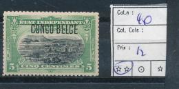 BELGIAN CONGO  1909 ISSUE TYPO. COB 40 MNH POSTFRIS SANS CHARNIERE