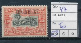 BELGIAN CONGO  1909 ISSUE TYPO. COB 47 MNH POSTFRIS SANS CHARNIERE