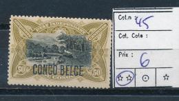BELGIAN CONGO  1909 ISSUE TYPO. COB 45 MNH POSTFRIS SANS CHARNIERE
