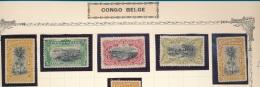 "BELGIAN CONGO 1909 ISSUE ""UNILINGUE"" COB 50/53 + 52a LH MET PLEKKER NEUF CHARNIERE"
