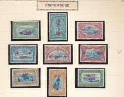 BELGIAN CONGO 1918 ISSUE RED CROSS  COB 72/80 LH MET PLAKKER CHARNIERE
