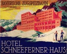 1Hotel Label Etiquette De Voyage Luggage Label Skifahren Ski Germany Deutschland Hotel Schneeferner-Haus Zugspitzbahn - Hotel Labels