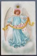 LITHO CHROMO RELIEF ILLUSTRATEUR STYLE CLAPSADDLE Grand ANGE Robe Bleu Portant Fleurs Roses Etoile Sur Tete - Angels