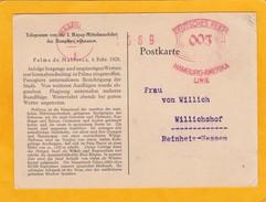 1928 - Télégramme Cp De Palma De Majorque, Espagne Vers Willichshof - EMA Hamburg Amerika Linie