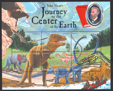 D56 LIBERIA FAUNA DINOSAURSJULES VERNE CENTER OF THE EARTH 1KB MNH