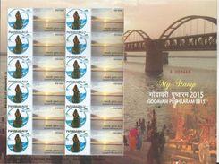 Special My Stamp, India, Godavari Pushkaram, River, Railway Bridge, Sheet Of 12, MNH,Stamps, By India Post