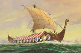DRAKKAR Normand - Gouache D G. Fouillé - Edition Comité National De L'Enfance - Schiffe