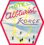 1Hotel Label Etiquette De Voyage Luggage Label Skifahren Ski Hotel Albturist KORCE Albanie - Hotel Labels