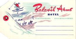 1Hotel Label Etiquette De Voyage Luggage Label Skifahren Ski Balavil Arms Newtonmore Invernesshire Scotland UK - Hotel Labels