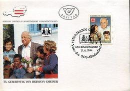 18972 Austria, Fdc 1994 ,  Sos Kinderdorf Village, Hermann Gmeiner
