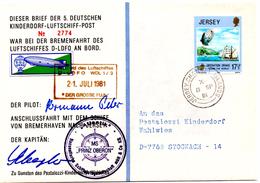 Lettre De Jersey (08.09.1981) Pour Stockach_Luftschiff_post Ballon_Oberon_Drake_Wahlwies - Lettres & Documents
