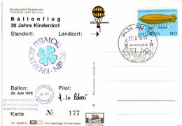 Lettre De Au (27.08.1976) Trogen_Freiballon_HB_BEK_kinderdorf - Briefe U. Dokumente