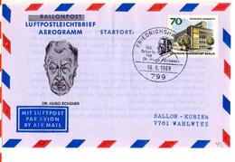 Aerogramme De Friedrichshafen (10.08.1968) Pour Wahlies_Eckener_Freiballon_Zeppelin