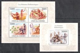 D87 2010 T UNION DES COMORES LES HOMMES PREHISTORIQUES HOMO SAPIENS 1KB+1BL MNH