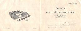 Carton D'Invitation Au Salon De L'Automobile Dans Les Années 1920 - Servo-Graissage Central  - Voir Desc - Reclame