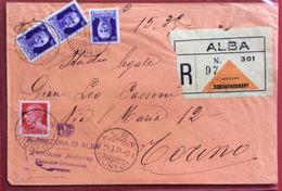 ALBA Lineare + ALBA CUNEO SU RACCOMANDATA CONTRASSEGNO PER TORINO IN DATA 1/3/38 - Marcophilie