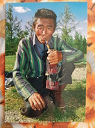 Mongolia. Darhadyn Wetland, Arat With A Pipe, Traditional Costume - Modern Postcard - Mongolie