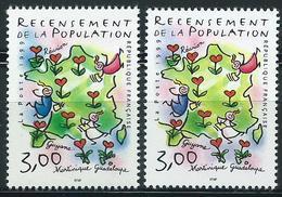 Variété : N° 3223 Recensement De La Population Bleu-violet Et Vert Clair Au Lieu De Bleu Et Vert-foncé + Normal **
