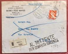 BIELLA VERCELLI 6/5/39 RACCOMANDATA AL MITTENTE PER COMPIUTA GIACENZA + MOD.26 E 42 - 1900-44 Vittorio Emanuele III
