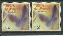 Variété : N° 3246 école De Nancy Gallé  Papillon Gris-violet (sans Le Rouge) + Normal **