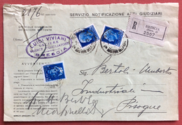 BRESCIA SUCC.1 P.ZA MARTIRI BELFIORE NOTIFICAZIONE ATTI GIUDIZIARI CON L.25+1.25+35 C.1/7/38  MONOCOLORE NON COMUNE - 1900-44 Vittorio Emanuele III