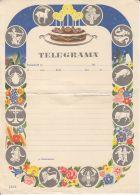 ASTROLOGY, HOROSCOPE SIGNS, BIRTHDAY CAKE, UNUSED TELEGRAMME, ROMANIA - Télégraphes