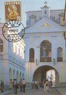 VILNIUS- AUSRA GATE, CM, MAXICARD, CARTES MAXIMUM, OBLIT FDC, 1991, LITHUANIA