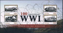 Bloc Sheet 1ere Guerre Mondiale Tanks War I  Neuf MNH ** Guyana 2014