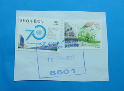 2017 ALBANIAN STAMPS THINK GREEN, 70 YEARS UNITED NATIONS Postmark KUKES ON PIECE OF ENVELOPE. (4)