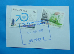 2017 ALBANIAN STAMPS THINK GREEN, 70 YEARS UNITED NATIONS Postmark KUKES ON PIECE OF ENVELOPE. (5)