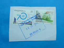 2017 ALBANIAN STAMPS THINK GREEN, 70 YEARS UNITED NATIONS Postmark KUKES ON PIECE OF ENVELOPE. (6)